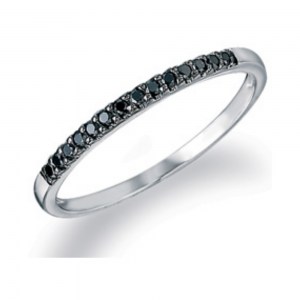 9ct White Gold & Black Diamond Ring